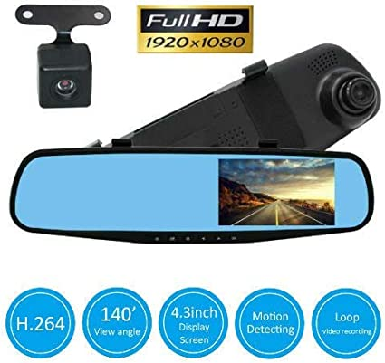 DVR Vehicles G-Sensor 803085 TK-STAR Backup Camera Mirror Dash Cam/  170/°Wide Angle Full HD 1080P Car Camera Dashboard Camera Recorder with Dual Lens for Cars Vehicles Front /& Rear View Mirror