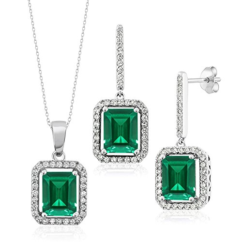 7.33 Ct Green Simulated Emerald 925 Sterling Silver Pendant Earrings Set