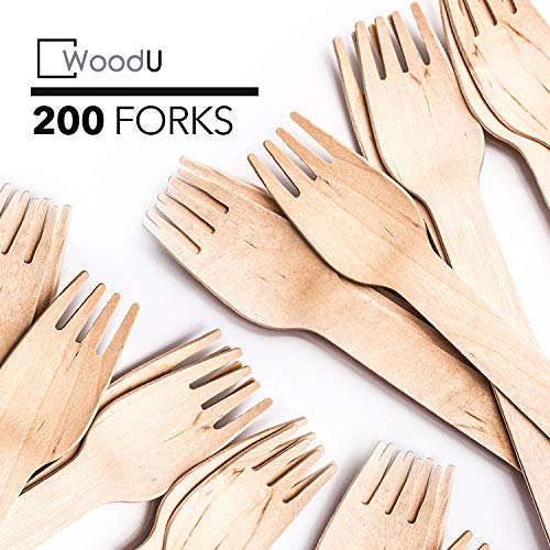 WoodU Disposable Wooden Forks Natural Birch Wood Biodegradable Utensils Cutlery Eco-Friendly Green (200 pack)
