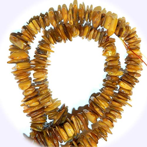 New Gold Coloren Brown Large 8mm - 12mm Flat Chip Mother of Pearl Shell Jewelry-Making Bead 34-inch DIY Craft Supplies for Handmade Bracelet Necklace