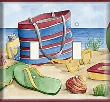 Double Light Switch Plate Cover - Beach Bag