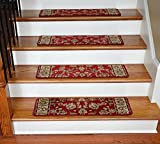 Dean Premium Carpet Stair Treads – Elegant Keshan Claret 31″ x 9″ (Set of 13) Picture