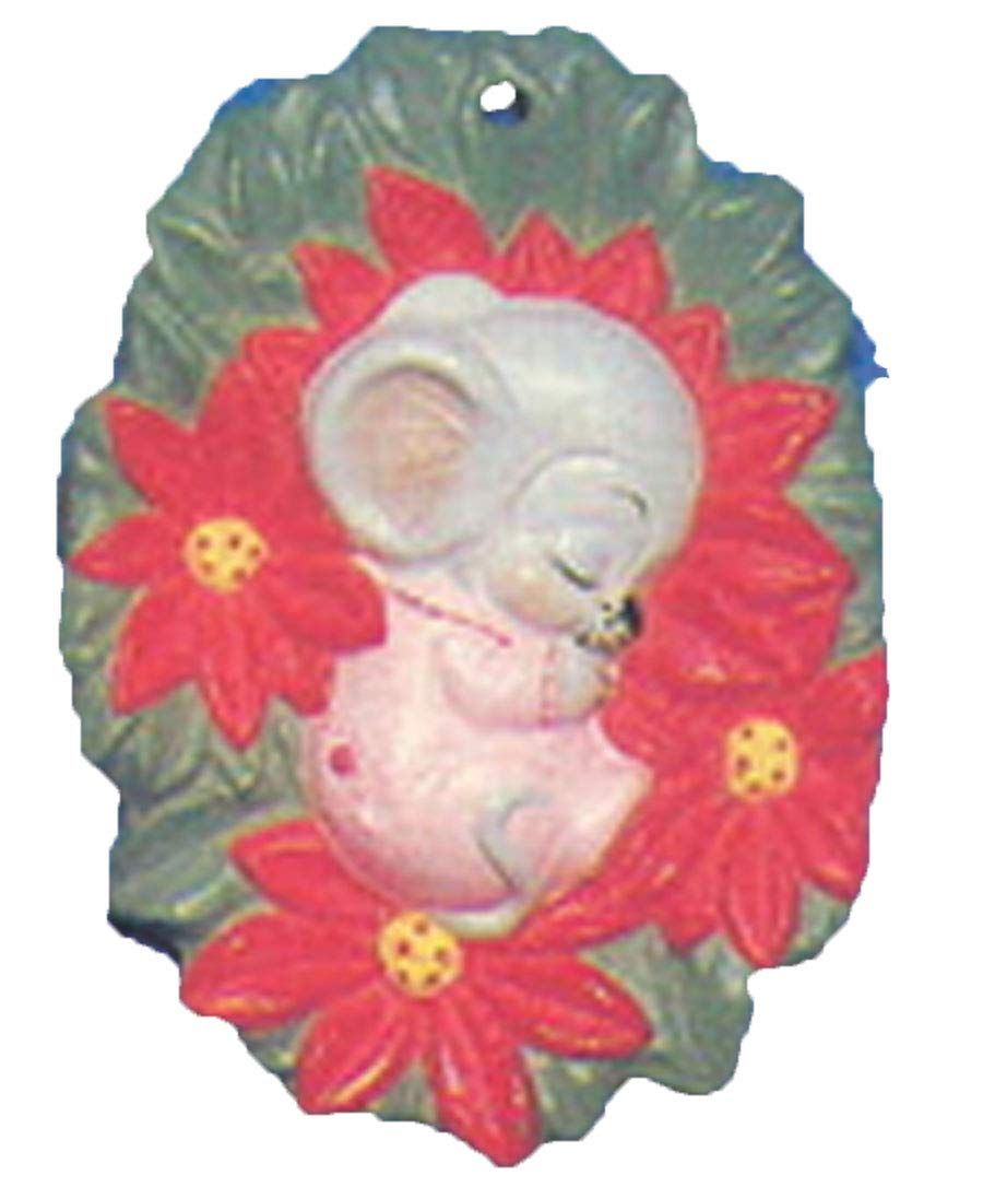 Mouse sleeping on Poinsettia 3' Christmas Ornament Ceramic Bisque Ready To Paint Alberta