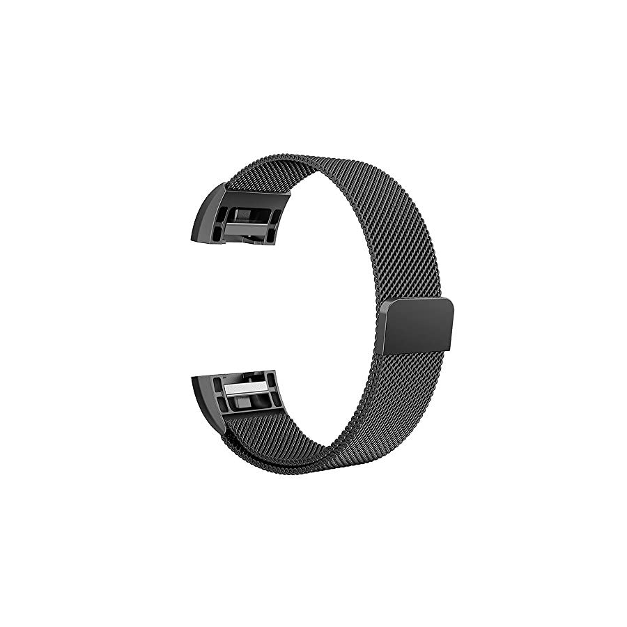 Simpeak for Fitbit Charge 2 Band, Small/Large, Replacement Milanese Band Strap with Magnetic Closure Clasp for Fit bit Charge 2, Black,Silver,Rose Gold,Rose Pink,Champagne Gold
