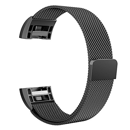 Bands for Fitbit Charge 2, Simpeak Stainless Steel Replacement Metal Band Strap with Magnetic Closure Clasp for Fit bit Charge 2, Black,Silver,Rose Gold,Rose Pink,Champagne Gold