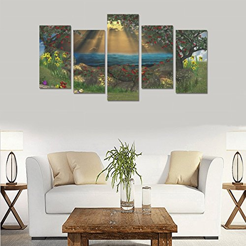 Unique Landscape Art Oil Painting Decoration Fantasy Art Flowers Lakes Custom 100% Canvas Material Canvas Print Bedroom Wall Art Living Room Mural Decoration 5 Piece Canvas painting (No Frame) by sentufuzhuang Canvas Printing