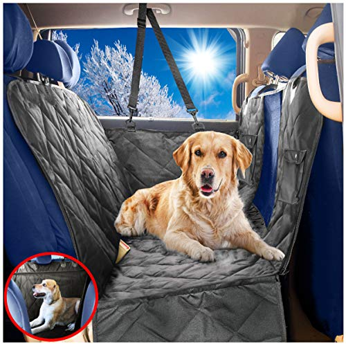 (Dog Car Seat Covers Hammock for Pets-Back Seat and Doors Protector-Unique Mesh Window Backseat Barrier-Side Flaps,Leak-proof,Anti-Scratch,Nonslip,Machine Washable-Black-Fits Most Vehicles-54x60)
