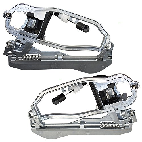 Pair Set Front Outside Exterior Door Handle Carriers Housing w/Cable & Base Replacement for BMW X5 51218243615 51218243616 AutoAndArt