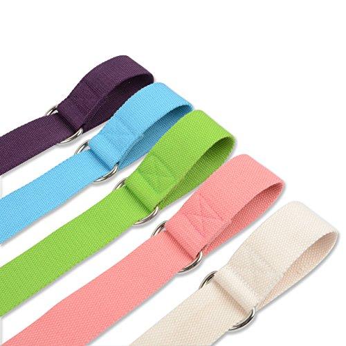 Multi-colour Yoga Mat Sling Carrying Strap & Stretch Strap Adjustable Pilates Mat Sling Strap (Pink)