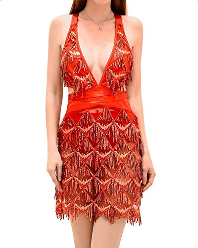 BYSBZD Womens Sexy Halter Sequins Backless Lining Dress Party Night&Out Dresses Red S]()