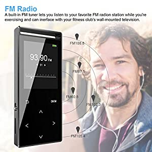 MP3 Player with Bluetooth, Zerofire 16GB Portable Digital Music Player Support FM Radio Photo Browsing Video Play Pedometer Voice Recorder Text Reading with Earphone Armband for Sport Running