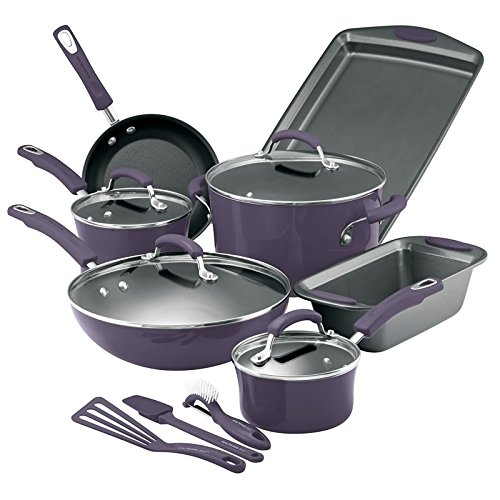 Rachael Ray Purple Cookware Set Pots Pans 14 Pieces