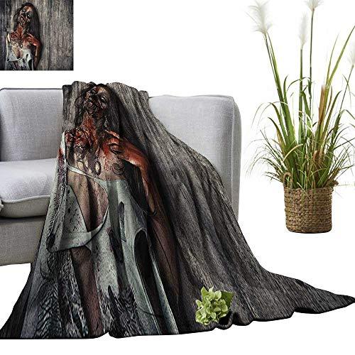 Superlucky Zombie Throw Blanket Angry Dead Woman Sacrifice Fantasy Design Mystic Night Halloween Image 50