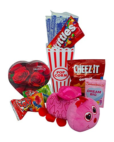 Valentines Day Movie Night Gift Set Gift Basket (Color May Vary) For Date Night, Family Night, Chocolate, Candy, Popcorn - Best Present for Girlfiend, Boyfriend, Husband, Wife and Kids