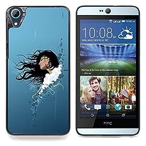 """Qstar Arte & diseño plástico duro Fundas Cover Cubre Hard Case Cover para HTC Desire 826 (Mujer Morena Arte Cabello largo Cielo Retrato"""")"""