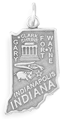 (Oxidized Sterling Silver Charm, State of Indiana, 1)