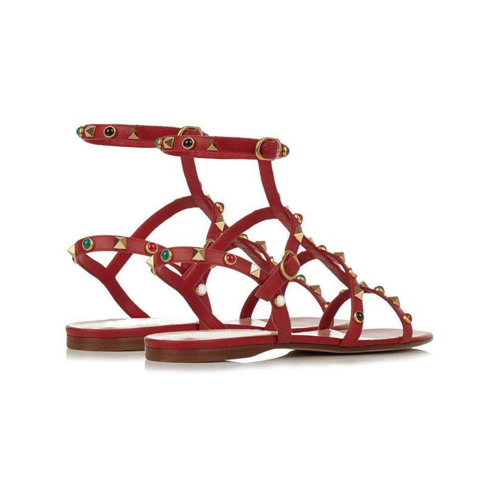 MERUMOTE Damen Schuhe Nieten Dekoration Riemen Rom Sommer Sommer Sommer Sandalen  946926