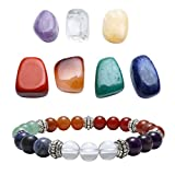 Top Plaza 7 Chakra Healing Crystals Yoga Balance Irregular Polished Tumbled Palm Stones Set W/ 7 Chakra Balancing Energy Stone Bracelet (7 Chakra Bracelet Without Charm)