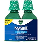 Vicks NyQuil Cold and Flu Nighttime Relief Original Flavor Liquid Twin Pack, 2 x 12 Ounce