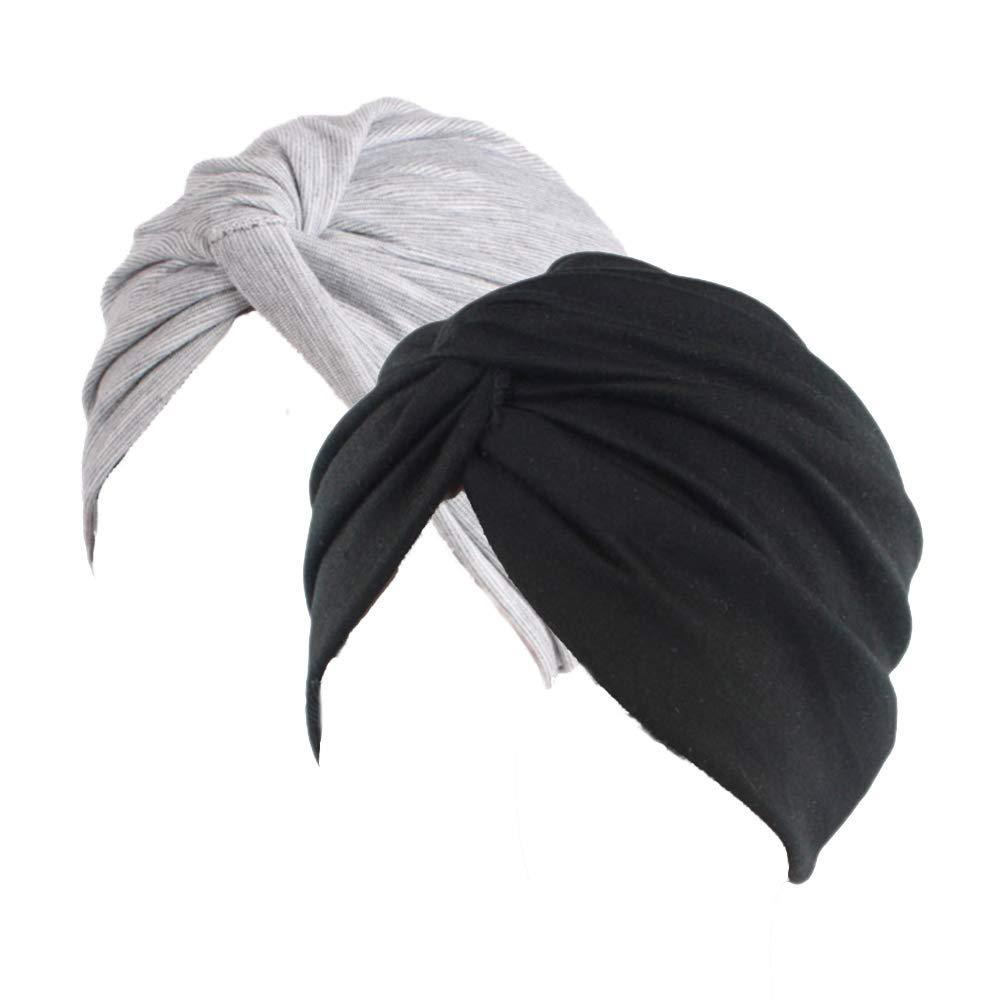 Ganves Women's Sleep Soft Turban Pre Tied Cotton India Chemo Cap Beanie Turban Headwear (Black&Gray)