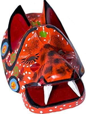 Mini máscara decorativa de madera de Guatemala. Tallado a mano rojo tigre fabricado con 100% Real madera. Perfecto para el hogar, salón y dormitorio ...