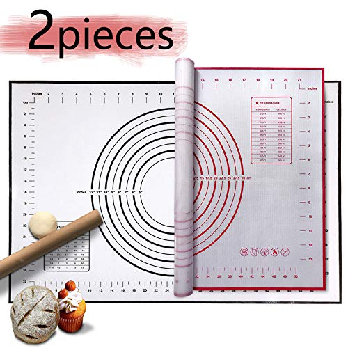 Large Silicone Pastry Mat Extra Thick Non Stick- Does Not Slide when Rolling, Equipped with Precise Measurement Baking Mat,Dough Rolling Mat Pie Crust Mat Fondant Mat(16(W)24(L))