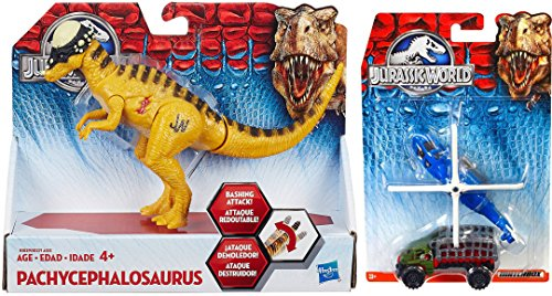 Jurassic World Matchbox Sky Busters - Bashers & Biters Pachycephalosaurus Figure & Matchbox Jurassic World Land and Air Helicopter Vehicle Collection Dinosaur 2-Pack (Air Command Action Figure)