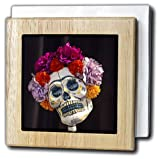 3dRose nh_229530_1 ''Arizona Phoenix. Art of Skeleton with Hair MADE of Flowers.'' Tile Napkin Holder, 6'', Natural