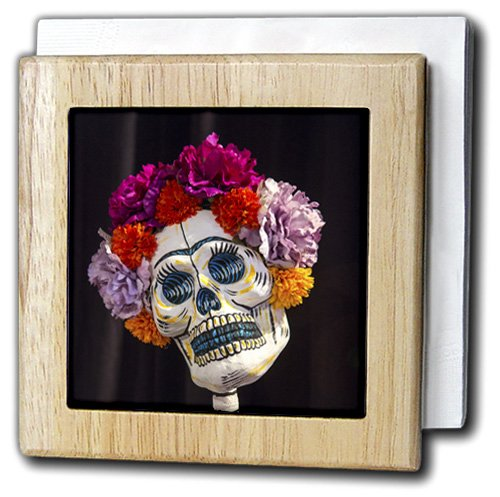 3dRose nh_229530_1 ''Arizona Phoenix. Art of Skeleton with Hair MADE of Flowers.'' Tile Napkin Holder, 6'', Natural by 3dRose
