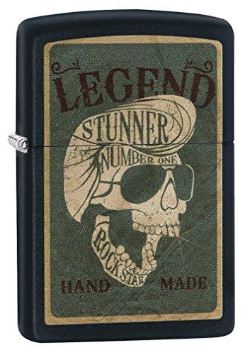 - Zippo Legendary Skull Design Black Matte Lighter