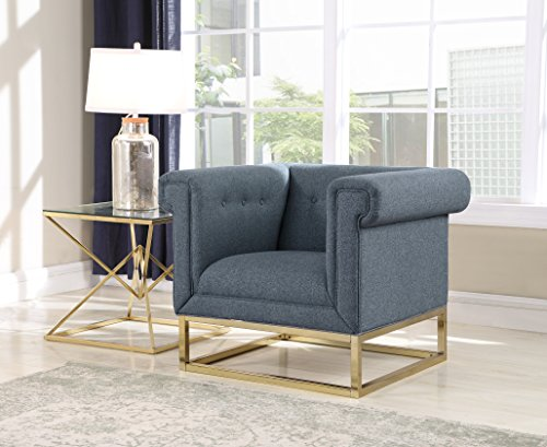 (Iconic Home Palmira Accent Club Chair Button Tufted Linen-Textured Plush Cushion Brass Finished Brushed Metal Base Frame, Modern Transitional, Blue)