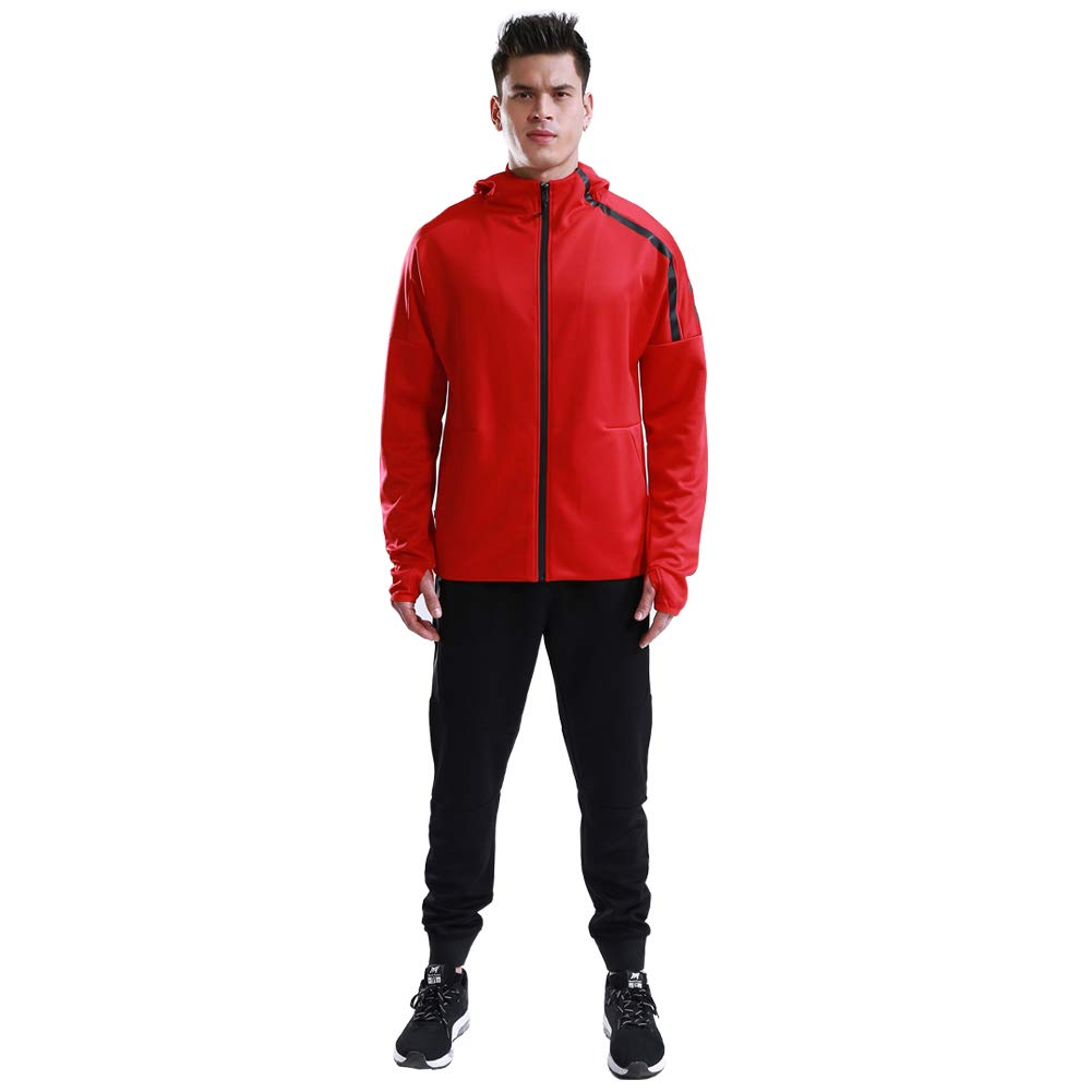 Shinestone Men's Sport Casual Tracksuit Warm Up Tracksuit Gym Training Wear (8401-Red, XX-Small) by Shinestone