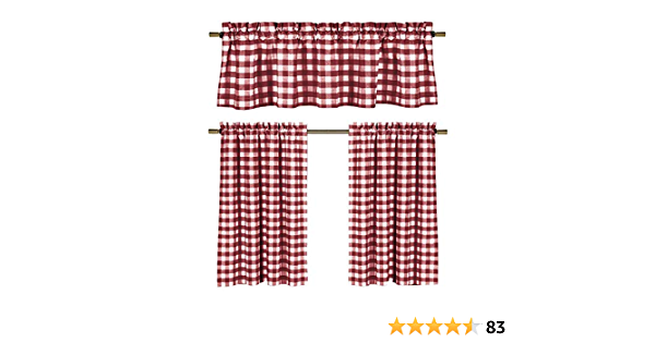 Gingham Checkered Plaid Design Wine Red White Kitchen Curtains