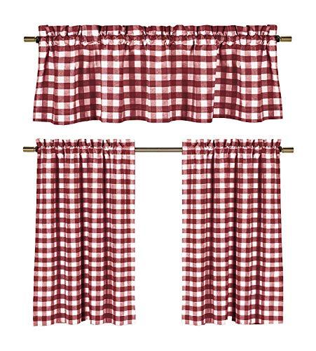 Amazoncom Wine Red White Kitchen Curtains Gingham Checkered Plaid