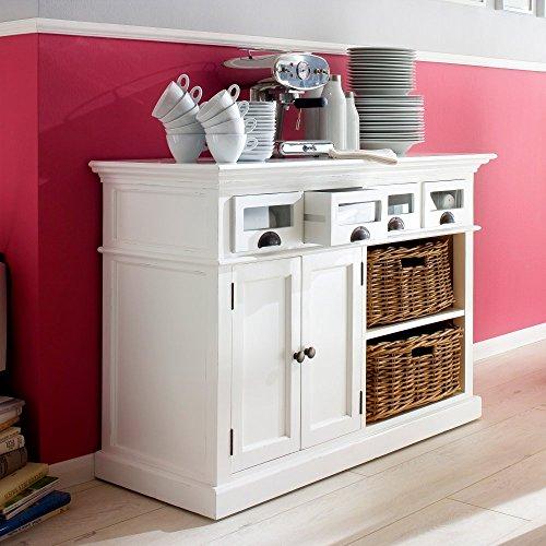 NovaSolo Halifax Kitchen Buffet with Basket Set, White by NovaSolo