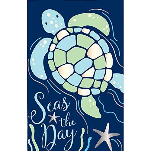 Evergreen Seas The Day Sea Turtle Applique Garden Flag