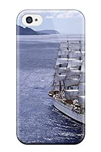 Iphone 4/4s Case Cover - Slim Fit Tpu Protector Shock Absorbent Case (sailship)