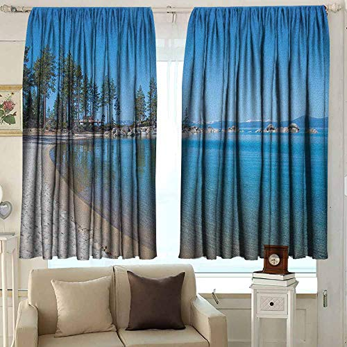 Thermal Insulated Blackout Curtains Lake Tahoe Clear Water in Shore of Lake Tahoe Idyllic Calming Scene Great for Living Rooms & Bedrooms 72 W x 63 L Inches Azure Blue Coconut Forest Green (Market Square Christmas Forest Lake)