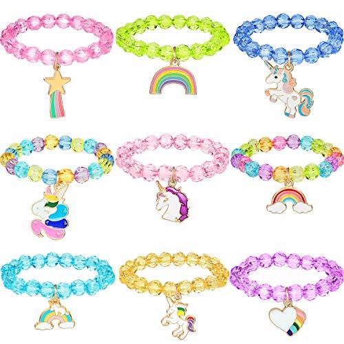 9 개는 다채로운 유니콘 팔찌 여자 유니콘 팔찌 레인보우 유니콘이 파란색된 팔찌 생일 파티를 위한 호의(크리스탈 스타일)