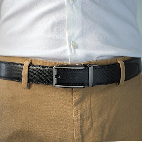 Enclosed Black Buckle Genuine mens Leather Click Elegant an in Fashion Gift click Belt belt Ratchet Dress with Men's Box Bz8qpzRw