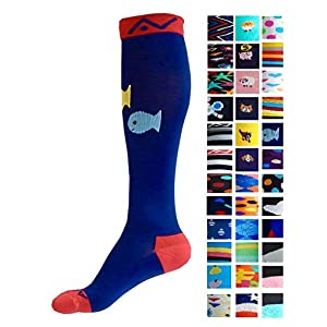 Compression Socks (1 pair) for Women & Men by A-Swift - Graduated Athletic Fit for Running, Nurses, Flight Travel, Skiing & Maternity Pregnancy - Boost Stamina & Recovery (Deep Sea, S/M)
