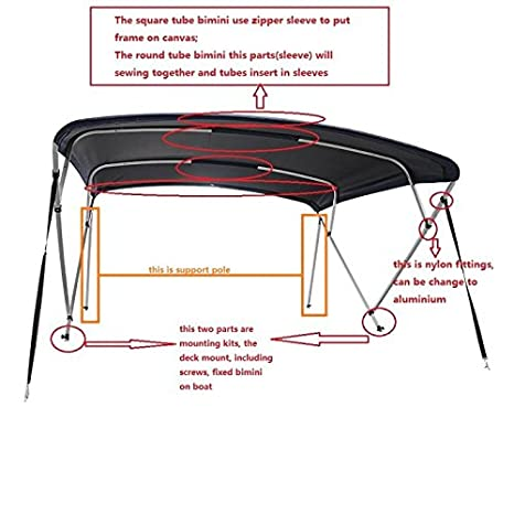 Bimini Top - Round Tube - 6 ft or 8 ft (8 ft, Navy Blue) J-Wisdom Marine and RV