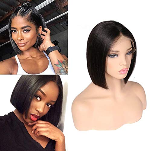 ITODAY Bob Wig For Black Women Brazilian Straight Remy Hair 130% Density Natural Hairline Baby Hair Glueless Lace Front Wigs Human Hair Natural Color (8 inch) -