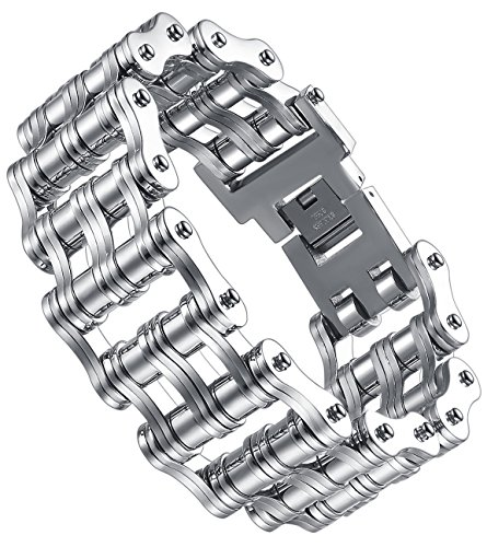 Aoiy Men's Stainless Steel Extra Large and Heavy Biker Bicycle Chain Bracelet, ccb081yi ()