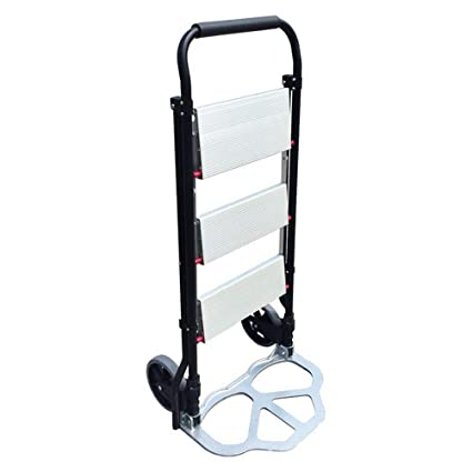 Amazon.com : GFYWZ Folding Hand Truck with Ladder Portable 2 in 1 Heavy Duty Hand Trolly and Convertible 3-Step Stool Ladder with Two Wheels 100Kg Capacity ...