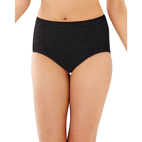 Bali womens Comfort Revolution Brief Panty (3-Pack) (10-11, Black Damask)