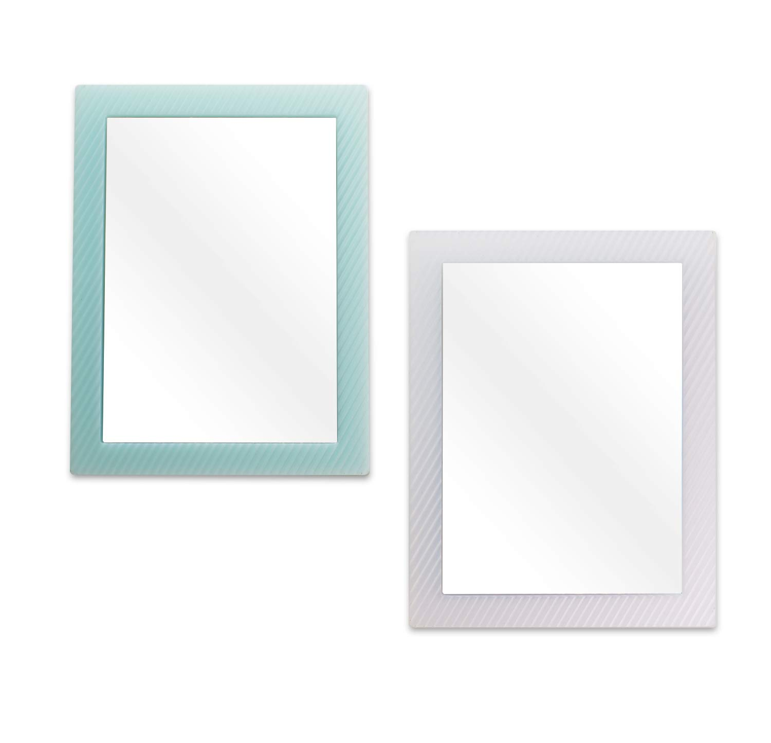 2 Pack Magnetic Locker Mirror for School Locker, Refrigerator, Office Cabinet, 6.3''x 4.8'', Locker Accessories Rectangular Mirror for Girls and Boys (Soft Mint and White)