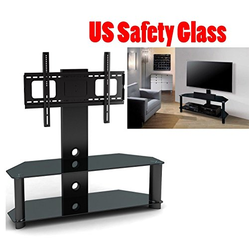 2xhome - TV Stand with Shelves - Tempered Glass Shelf Shelving System Combo Unit Rack Tower Base Black Two (2) Tier Double Tinted Smoke Colored Glass Coloured Color - Integrated TV Mount Mounted Mounting Bracket LED LCD Flat Screen Panel (Sansui Dvd/vcr Combos)