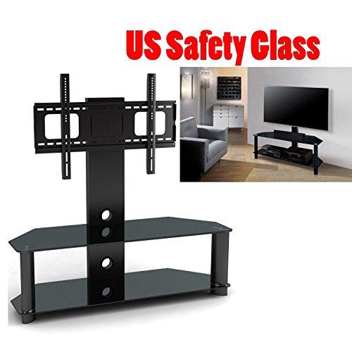 2xhome - TV Stand with Shelves - Tempered Glass Shelf Shelvi