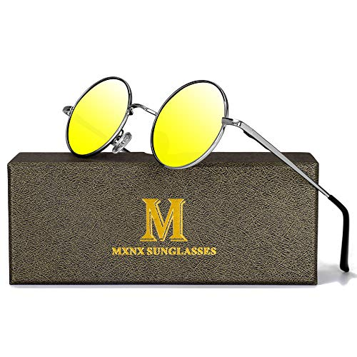 Retro Round Sunglasses for men John Lennon women Vintage Polarized Hipple Small Circle Sun Glasses MXNX209 -(Silver/Mirror Gold Lens)